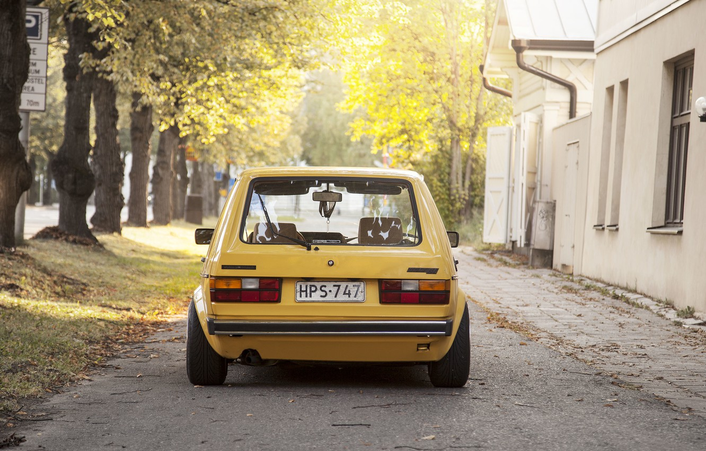 Photo wallpaper trees, street, home, Volkswagen, Golf, sunlight, tail lights, Mk1, rear
