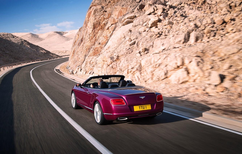 Photo wallpaper Bentley, Continental, Road, Machine, Convertible, Asphalt, Day, Purple, In Motion