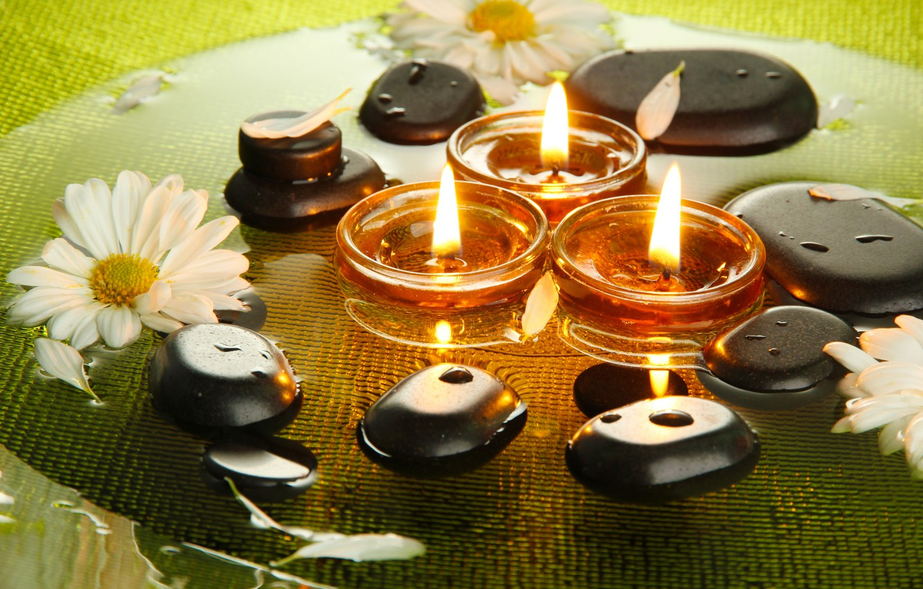 Photo wallpaper candles, Spa, Spa, candles, Spa stones, Spa stones, chrysanthemum flowers, the flowers of chrysanthemum