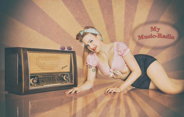 Wallpaper Girl Retro Pin Up Radio Time Images For Desktop