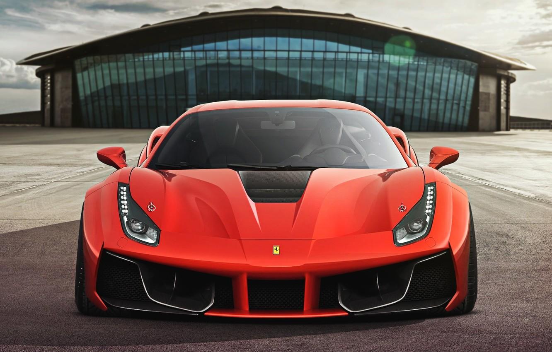 Photo wallpaper Ferrari, Red, GTB, Design, Front, Supercar, 2015, 488