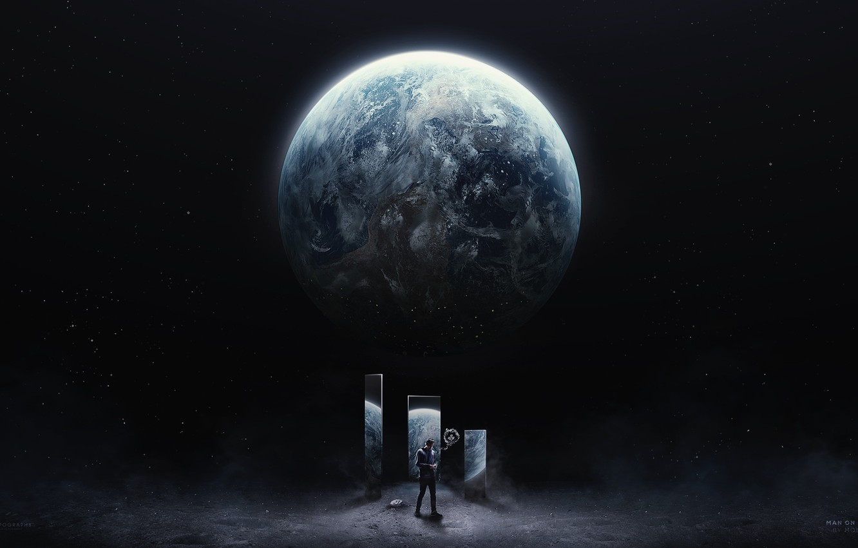 Wallpaper Space Planet Art Desktopography Man On The Moon