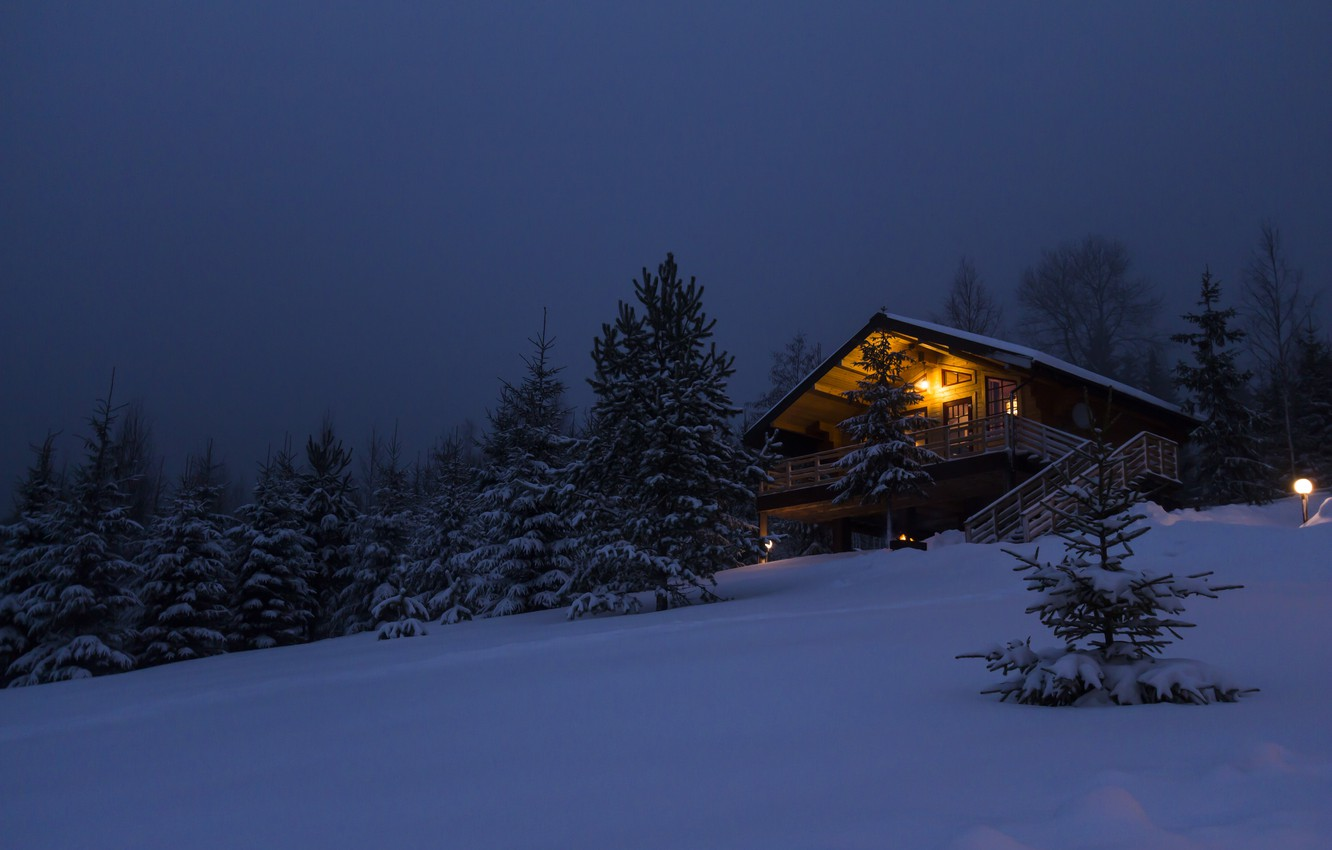Photo wallpaper winter, forest, snow, trees, night, nature, house, travel, tree, new year, house, house, hut, forest, …