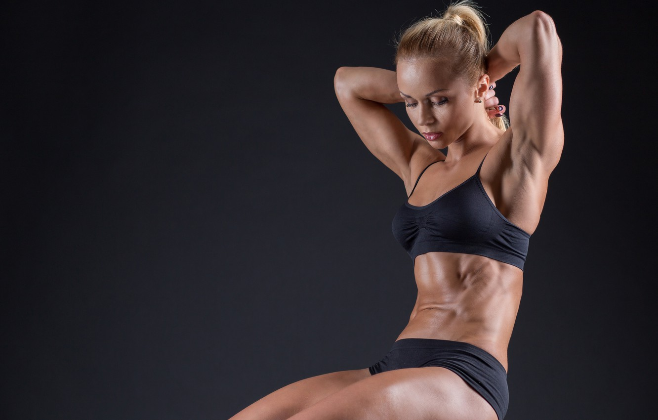 Photo wallpaper model, blonde, pose, workout, fitness, abs, toned body, sculpted