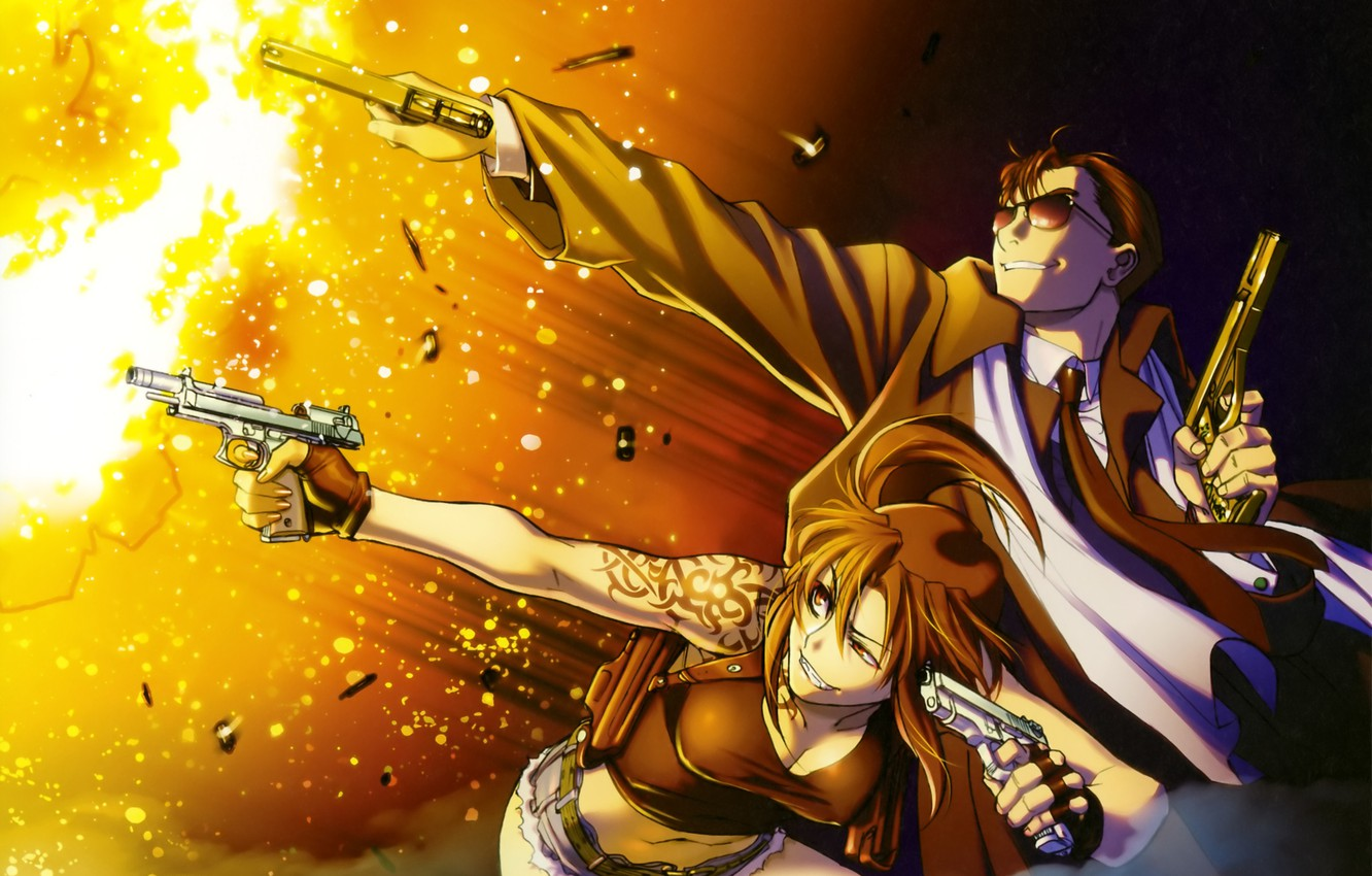 Wallpaper Fire Guns Man Black Lagoon Revy Sleeve