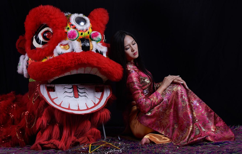 Photo wallpaper girl, dragon, dress, Asian