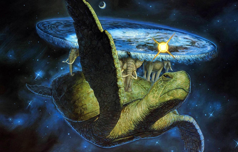 Photo wallpaper space, fantasy, turtle, elephants, Discworld Terry Pratchett