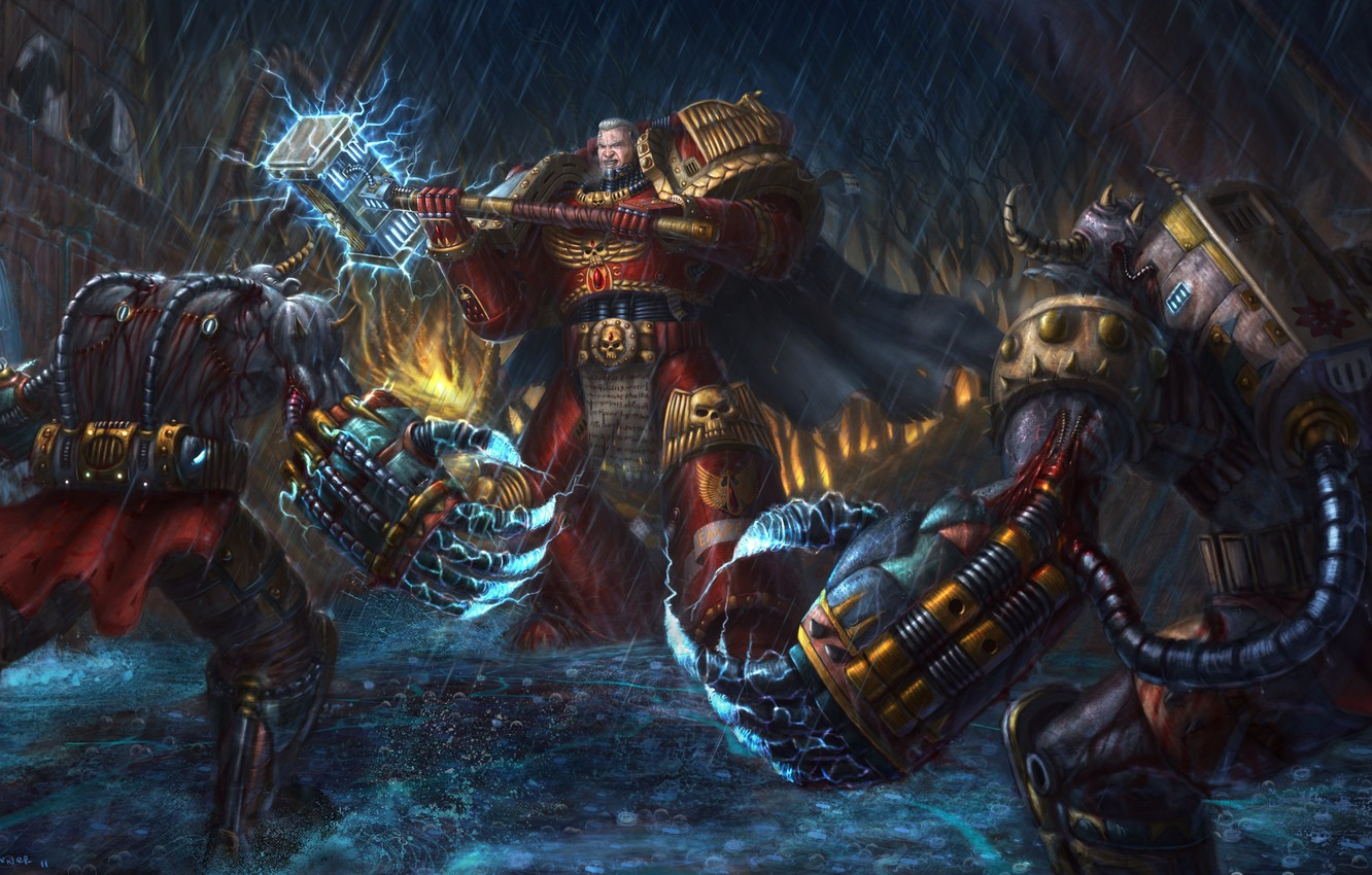 Photo wallpaper hammer, Space Marine, Warhammer, demons, 40k, Space marine
