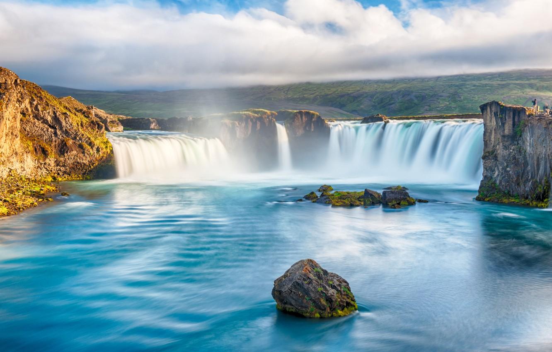 Photo wallpaper river, waterfall, river, landscape, waterfall