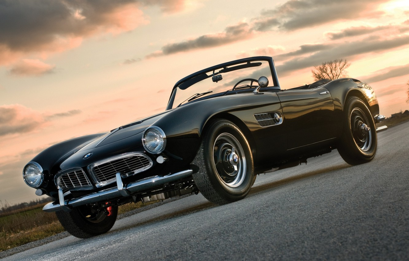Photo wallpaper road, the sky, sunset, black, BMW, BMW, sports car, convertible, the front, 1957, Series 2, …