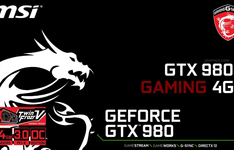 Photo wallpaper GTX, Gaming, Geforce, MSI, 980