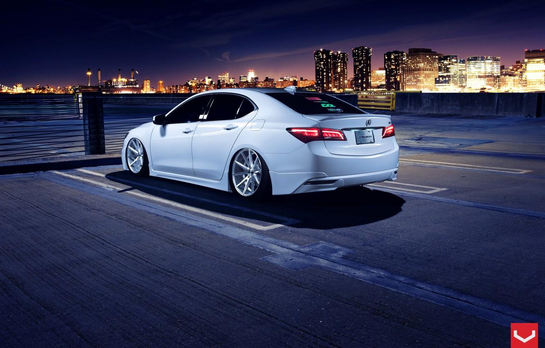 Photo wallpaper Car, White, Tuning, Acura, Vossen, Wheels, Rear, TLX, Nigth
