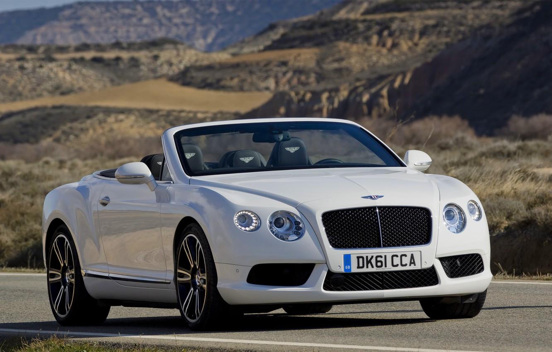 Photo wallpaper Bentley, Continental, White, Convertible, Grille, The hood, Bentley, Lights, Car, GTC
