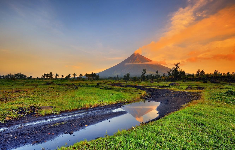 Photo wallpaper mountains, Park, the volcano, Philippines, Mayon volcano, Mayon