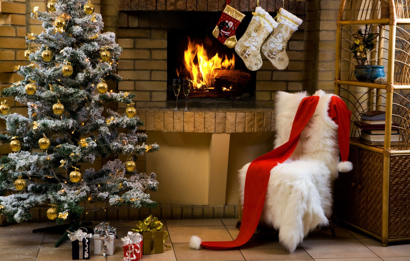 Photo wallpaper holiday, tree, Christmas, glasses, gifts, fireplace, champagne