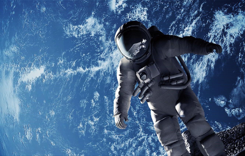 Photo wallpaper the moon, planet, astronaut, the suit, Earth, effect, astronaut, gait