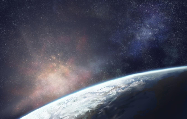 Photo wallpaper the sky, space, stars, earth, planet, art, moruga