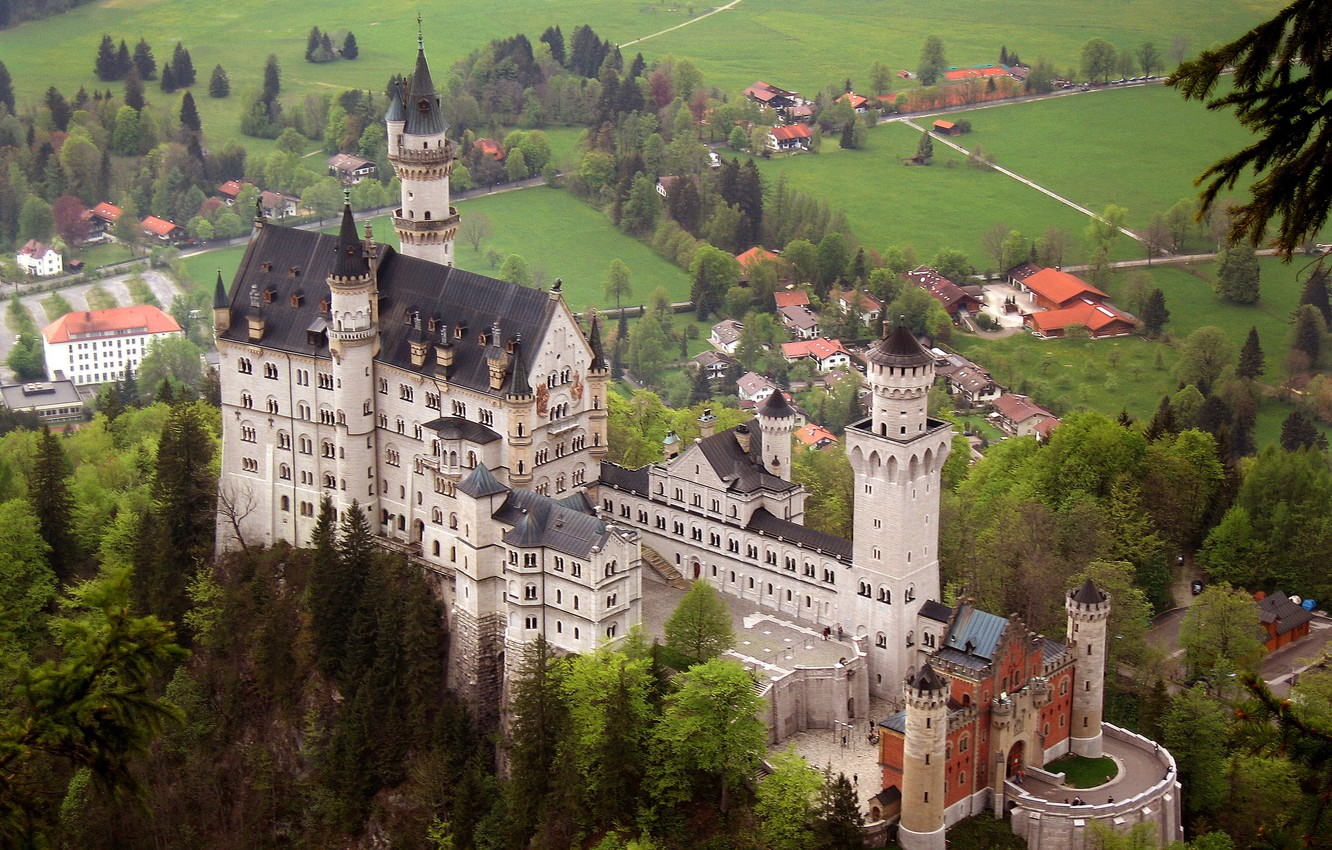 Photo wallpaper landscape, castle, Bayern, Neuschwanstein