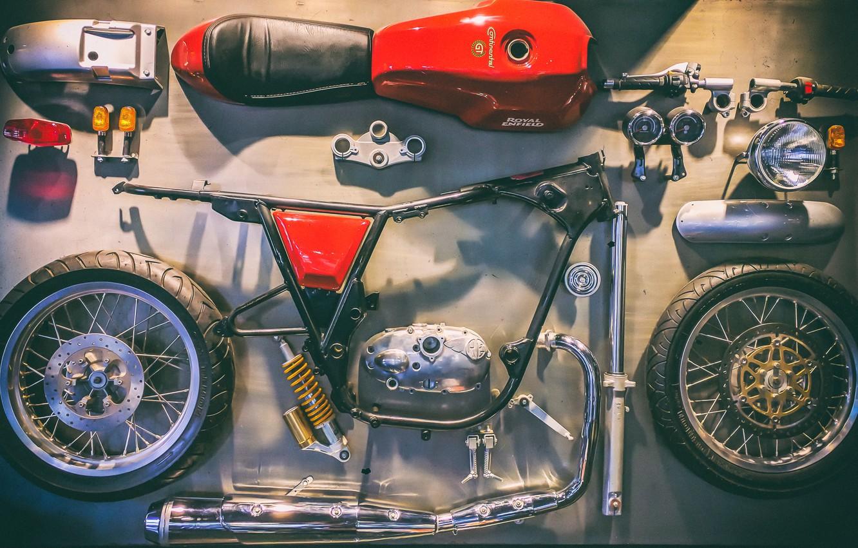 Photo wallpaper motorcycle, Royal Enfield, disassembled