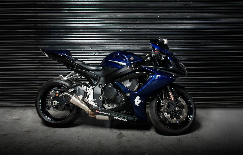 Photo wallpaper blue, motorcycle, profile, Supersport, suzuki, bike, blue, Suzuki, blinds, supersport, gsx-r1000
