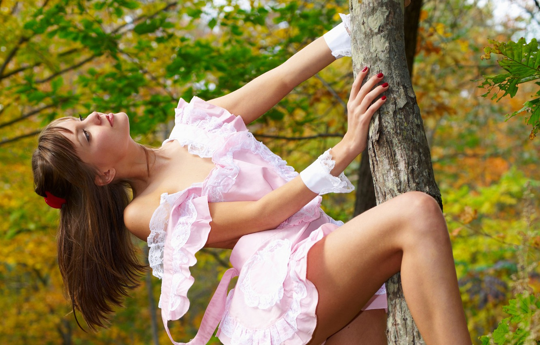 Photo wallpaper autumn, forest, girl, tree, foliage, dress, profile, brown hair, Emily, barrette, amelie, straps