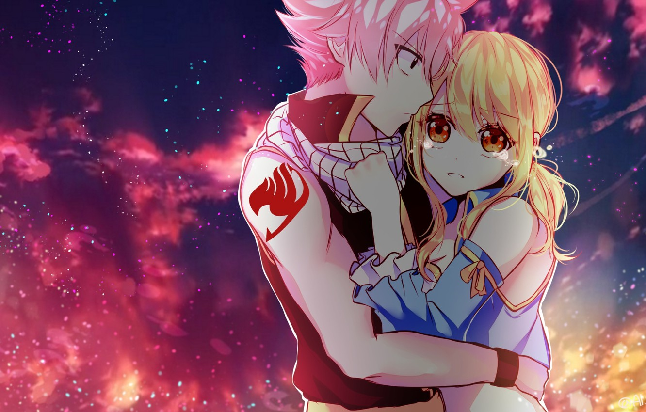 Photo wallpaper the sky, girl, clouds, anime, tears, art, pair, guy, two, fairy tail, tale of fairy …