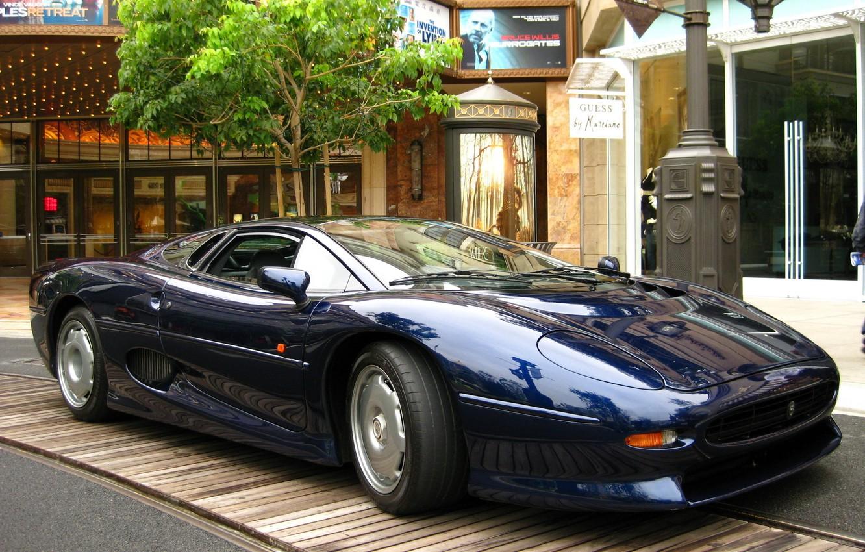 Photo wallpaper machine, blue, tree, street, sports, jaguar, xj 220, home .