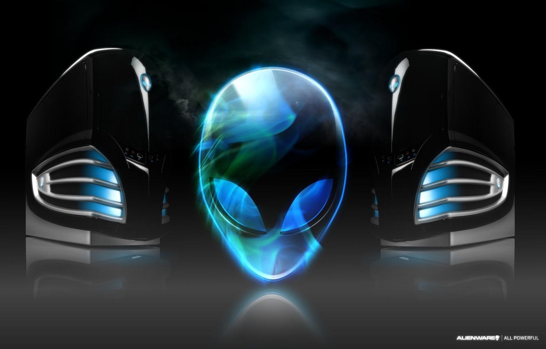 Photo wallpaper fog, head, alien, brand, alienware, the system unit