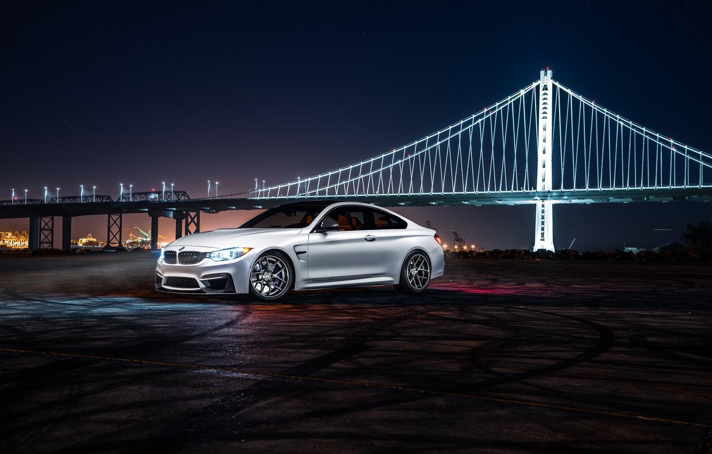 Photo wallpaper BMW, City, Car, Bridge, White, Collection, Aristo, F82, Ligth, Nigth