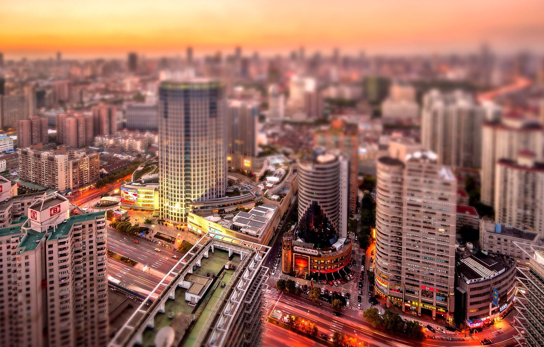 Photo wallpaper sunset, street, building, roof, China, Shanghai, orange sky
