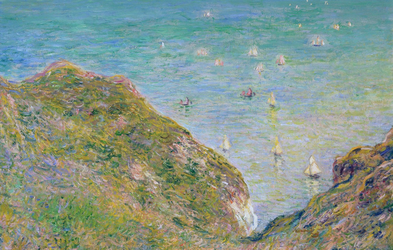 Photo wallpaper sea, landscape, picture, boats, Claude Monet, View from the Rocks in Purvile. Clear Weather