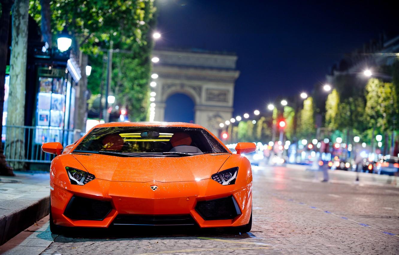 Photo wallpaper road, night, the city, Paris, Lamborghini, Lamborghini, Lamborghini, bokeh, LP700-4, Aventador, Aventador