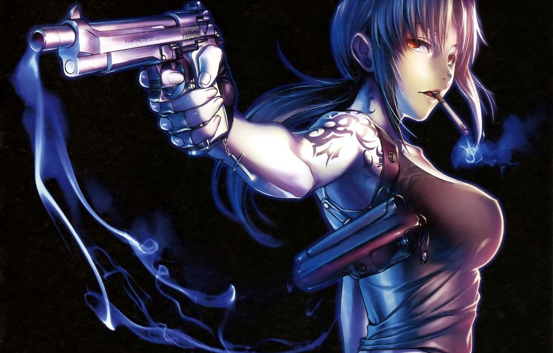 Wallpaper Girl Gun Smoke Anime Art Cigarette Tattoo Black
