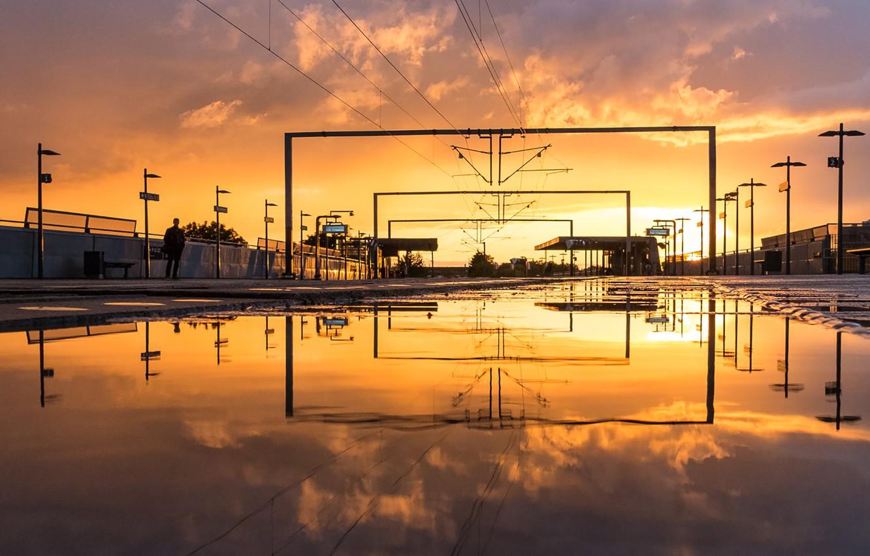 Photo wallpaper twilight, sunset, station, man, dusk, reflection, pond, Denmark, Copenhagen, power line