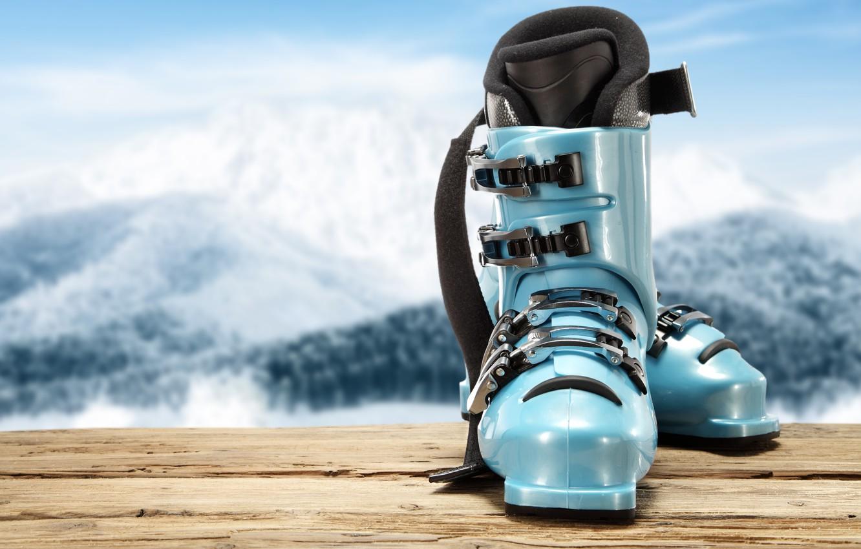 Photo wallpaper blue, mountains, ski boots