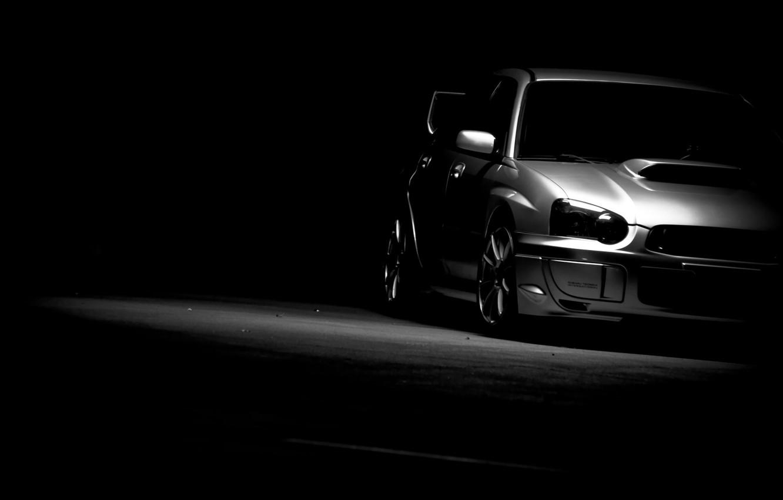 Photo wallpaper cars, black and white, subaru, black background, cars, wrx, impreza, Subaru, auto wallpapers, car Wallpaper, …