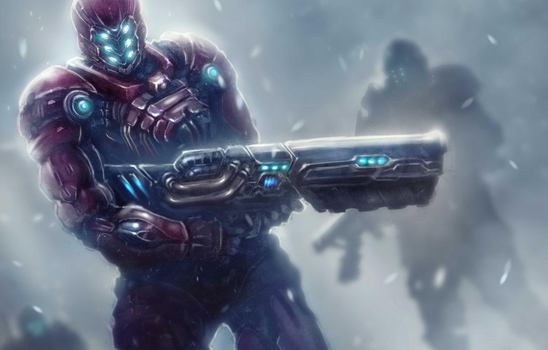 Photo wallpaper snow, weapons, war, art, armor, patrol