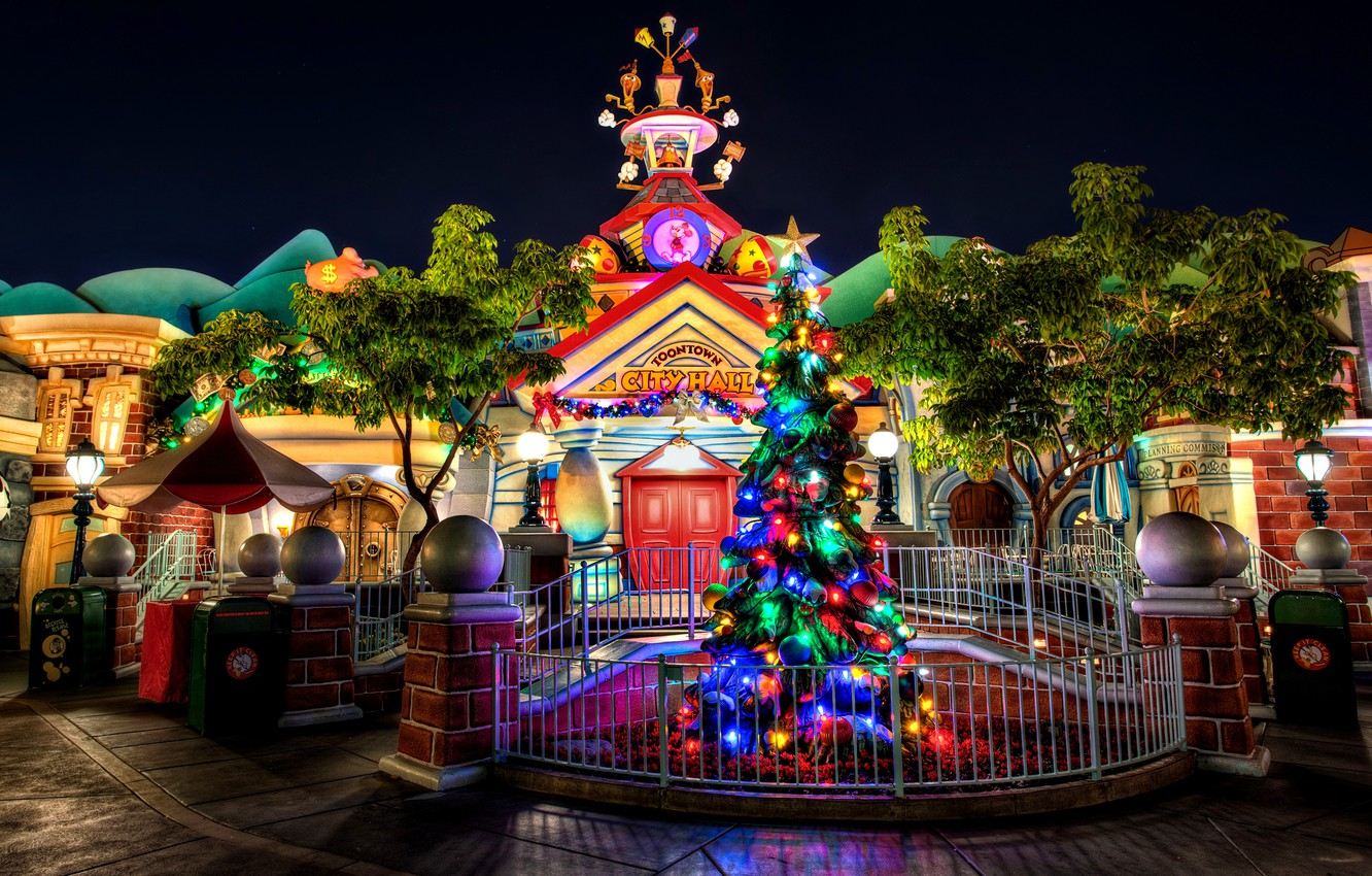 Photo wallpaper night, the city, house, holiday, New Year, Christmas,