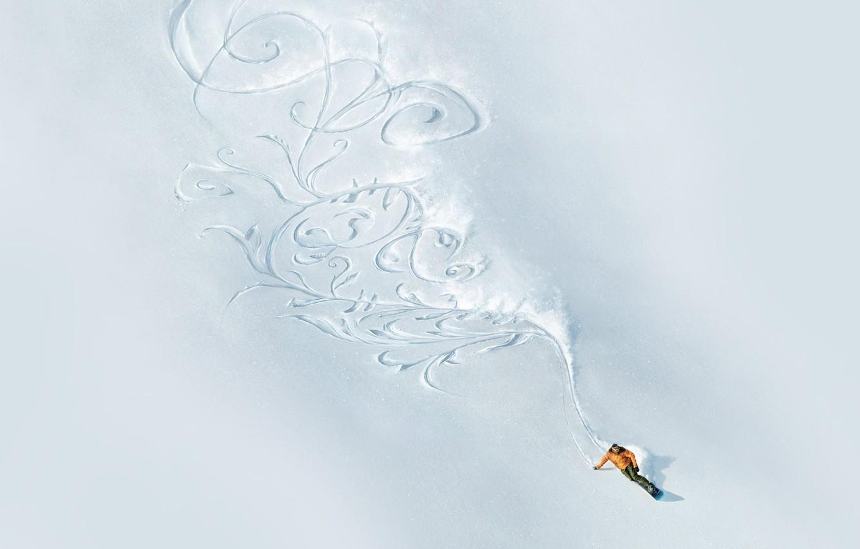 Photo wallpaper snow, mountains, pattern, snowboard