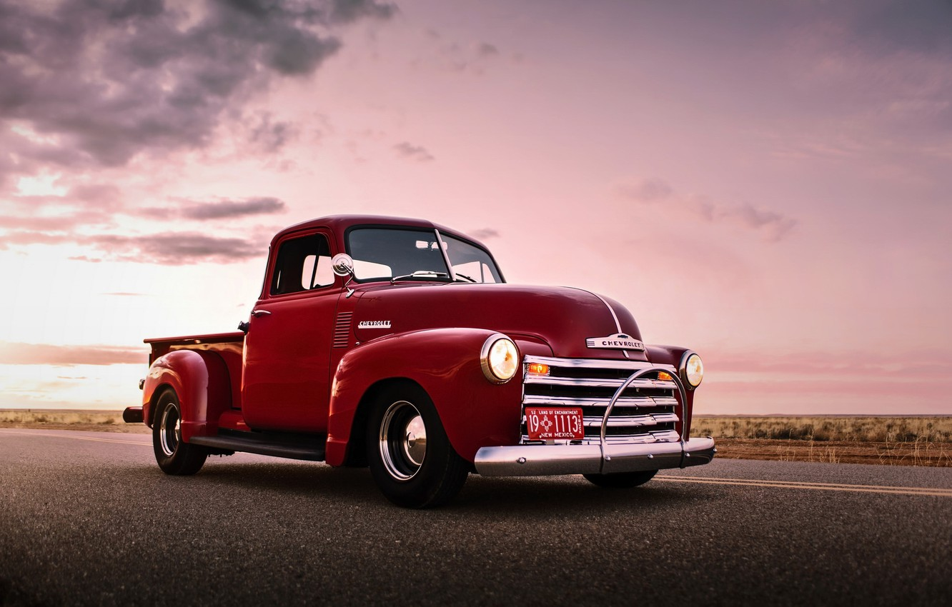 Photo wallpaper car, chevrolet, retro, old, pickup, lunchbox photoworks