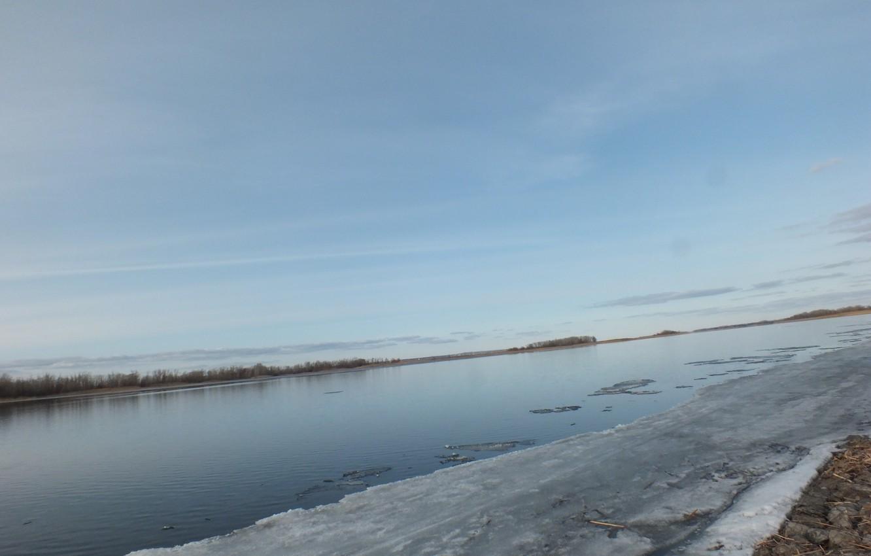 Photo wallpaper nature, river, spring, Volga, March