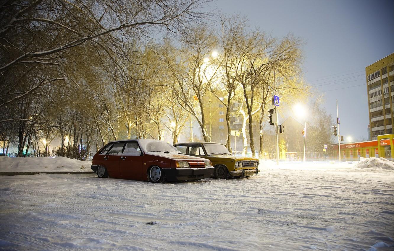 Photo wallpaper winter, machine, snow, Auto, Lada, auto, Lada, VAZ, 2108, BPAN, Without Landing Auto No