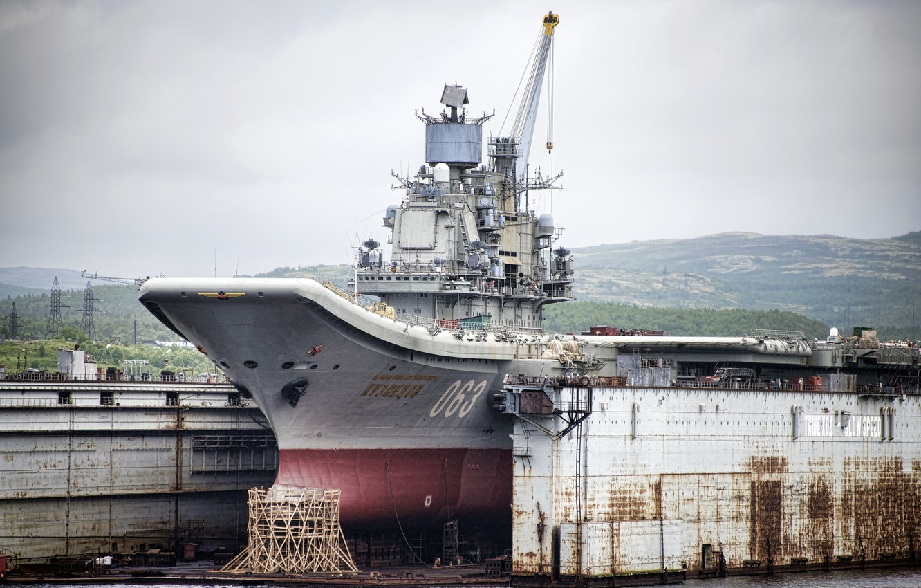 "Photo wallpaper Doc, repair, cruiser, heavy, aircraft carrier, ""Admiral Kuznetsov"""