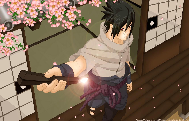 Photo wallpaper sword, katana, Sakura, art, guy, naruto, uchiha sasuke, luffy-san92