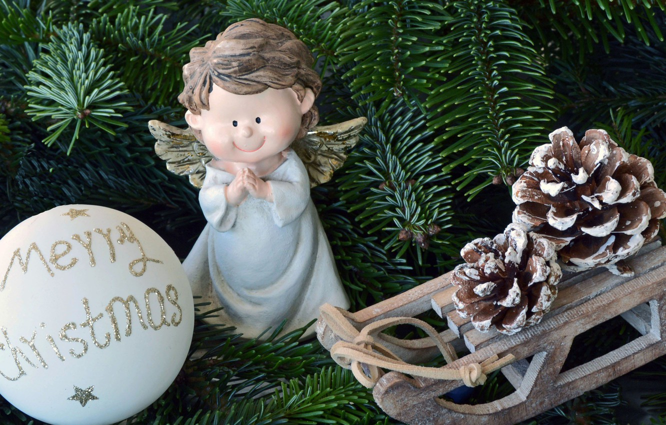 Photo wallpaper branches, holiday, toys, ball, Christmas, spruce, angel, sled, bumps, figure, angel