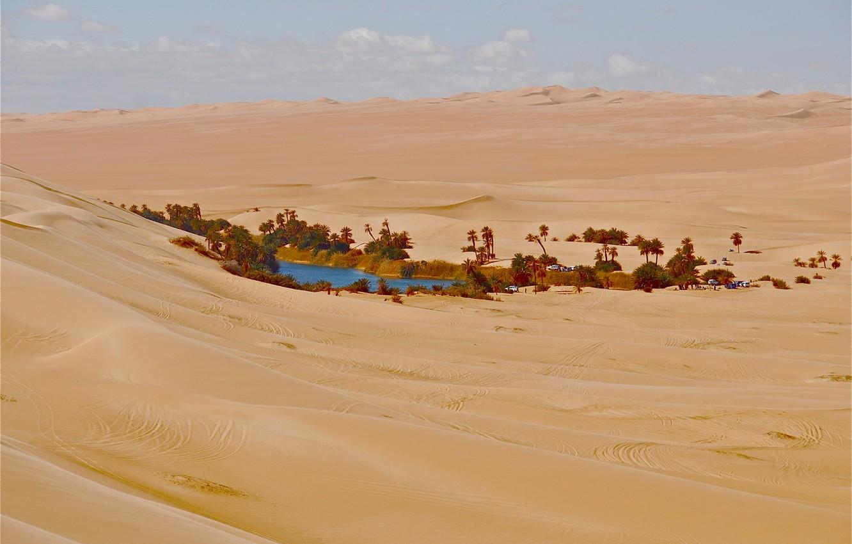 Photo wallpaper sand, house, Palma, desert, oasis