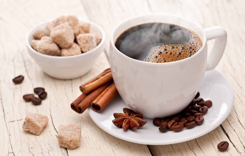 Photo wallpaper coffee, grain, Cup, sugar, cinnamon