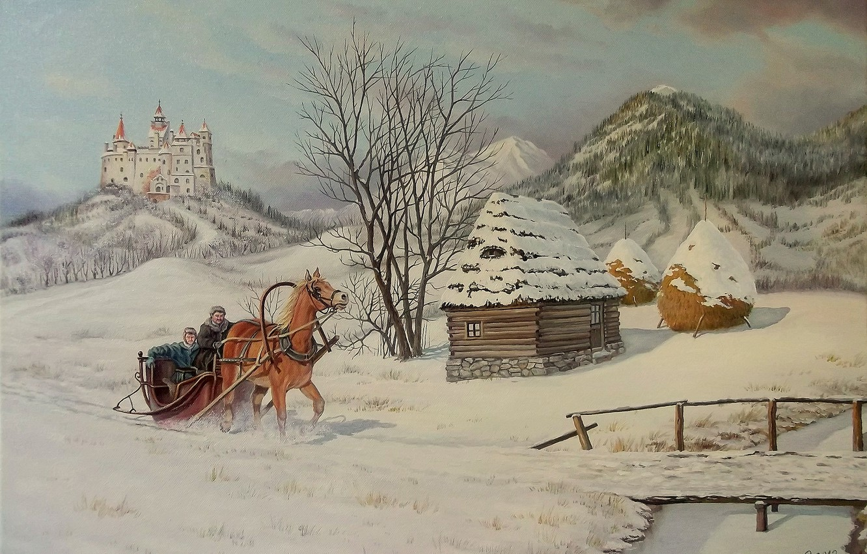 Photo wallpaper winter, snow, trees, bridge, house, castle, horse, sleigh