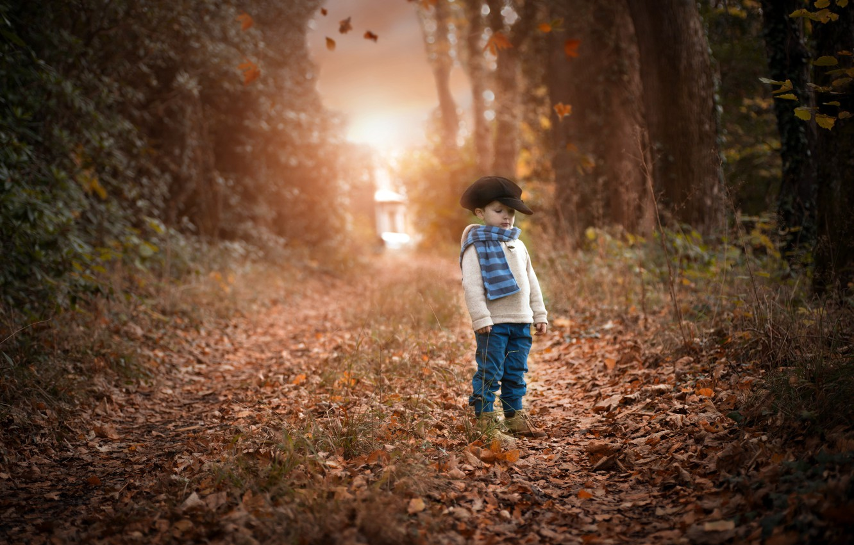 Photo wallpaper road, autumn, boy