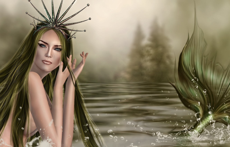 Photo wallpaper look, rendering, hair, mermaid, hands, tail, fin